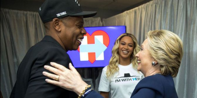 Hillary Clinton backed by Beyoncé and Jay Z